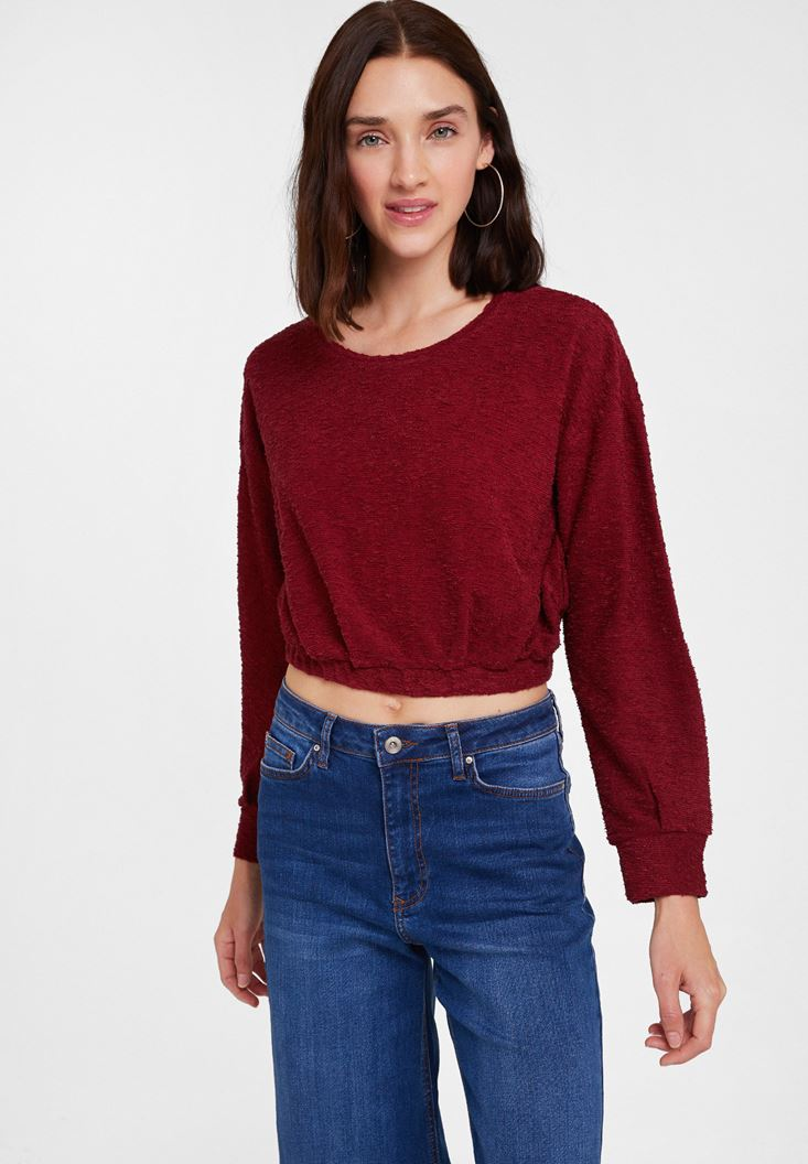 Bordeaux Long Sleeve Textured Knitwear