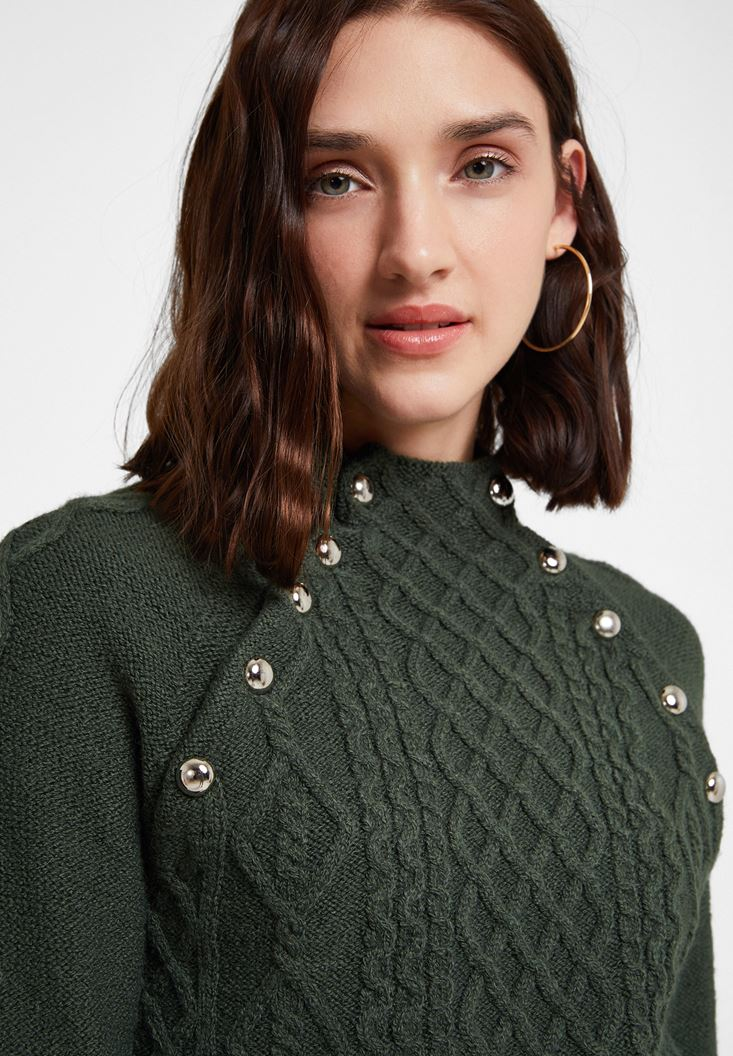 Green Braided Knitwear with Detail