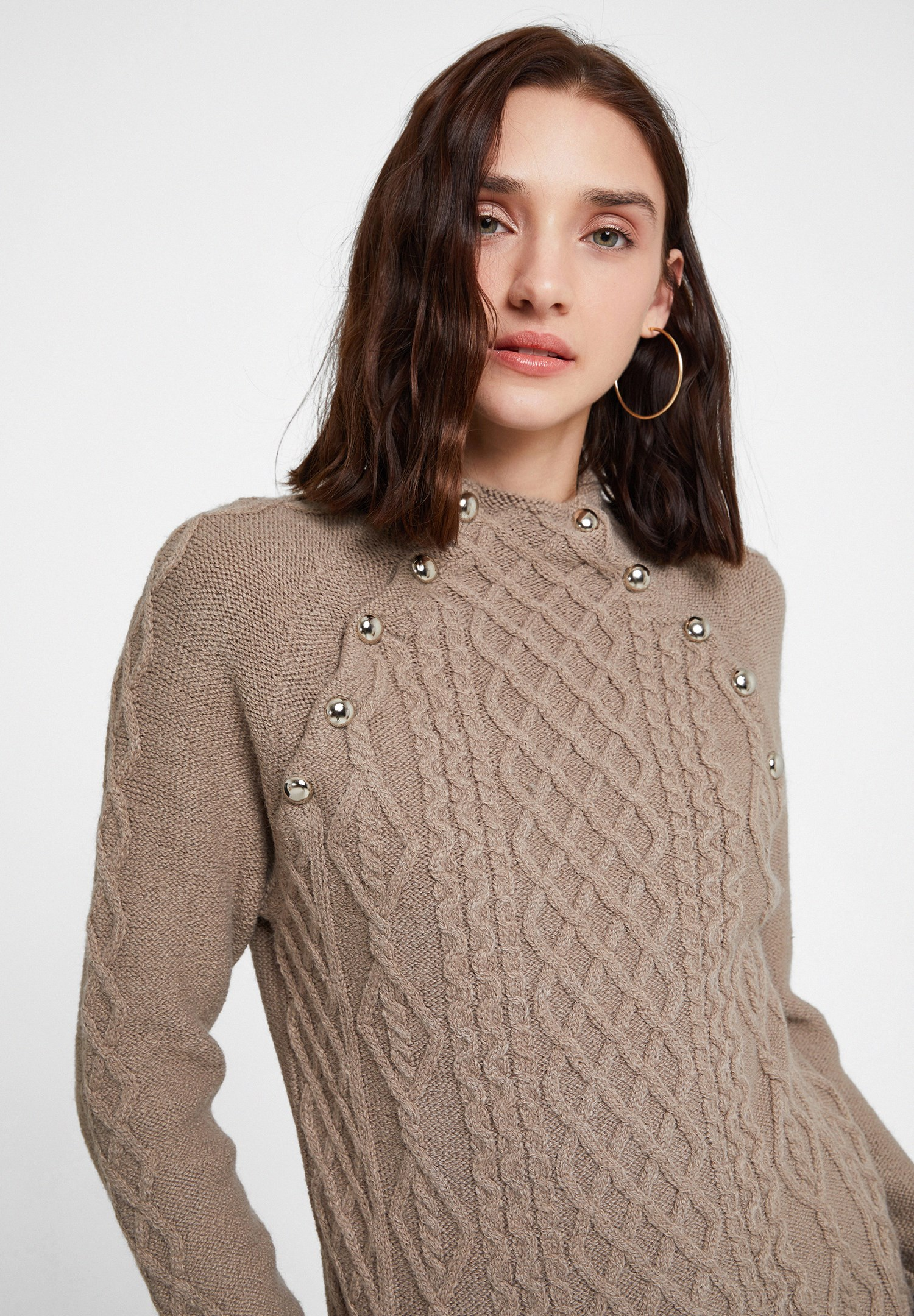 Women Brown Braided Knitwear with Detail