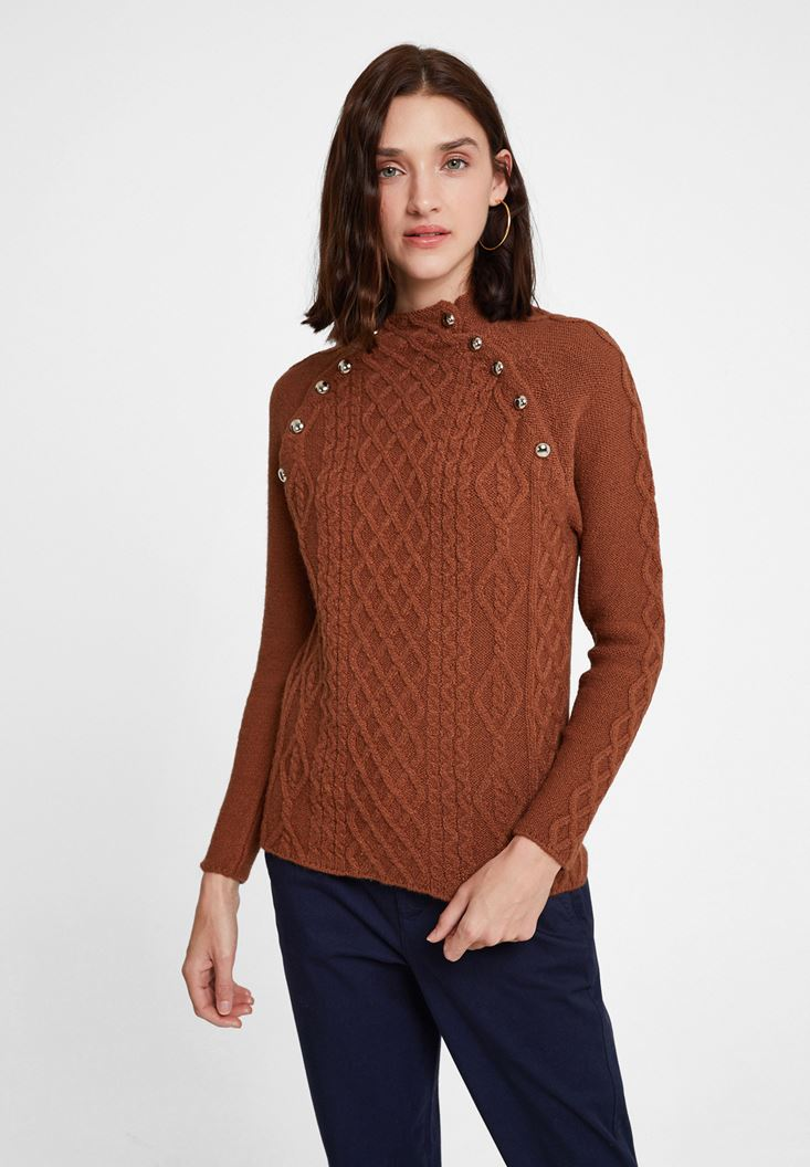 Brown Braided Knitwear with Detail