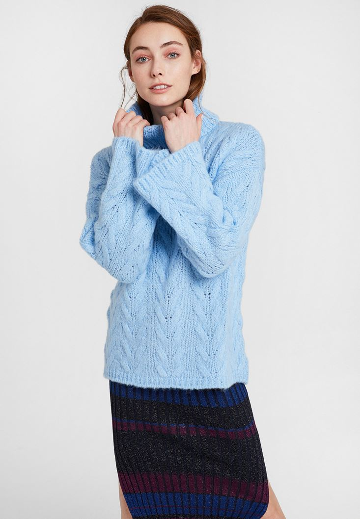 Blue Knitwear with Neck
