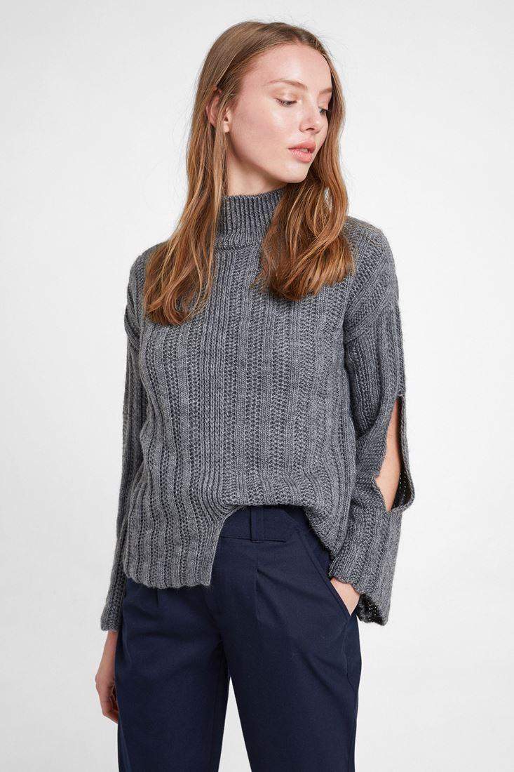 Grey Knitted Pullover with Slash Detail