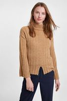 Women Brown Knitted Pullover with Slash Detail