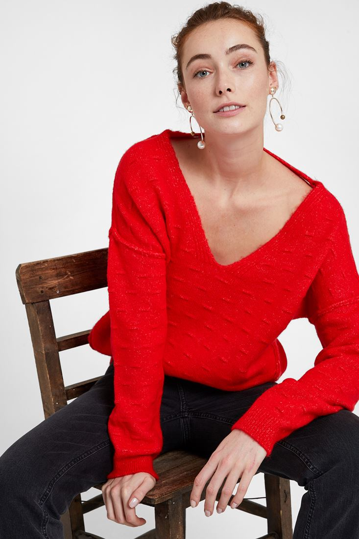 Red Pullover with Texture and Back Detail