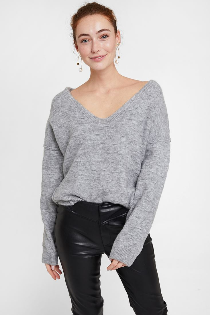 Grey Pullover with Texture and Back Detail