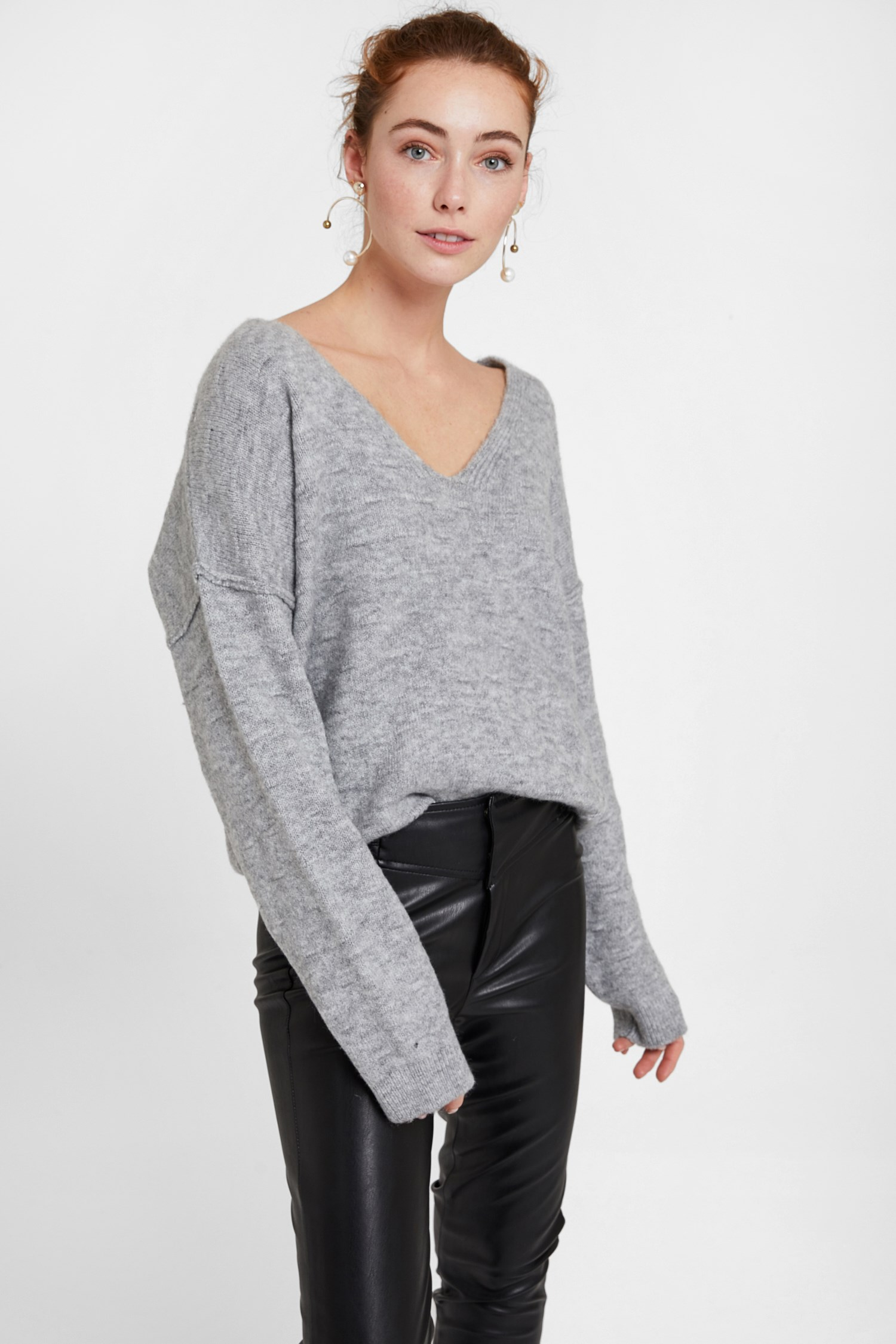 Women Grey Pullover with Texture and Back Detail