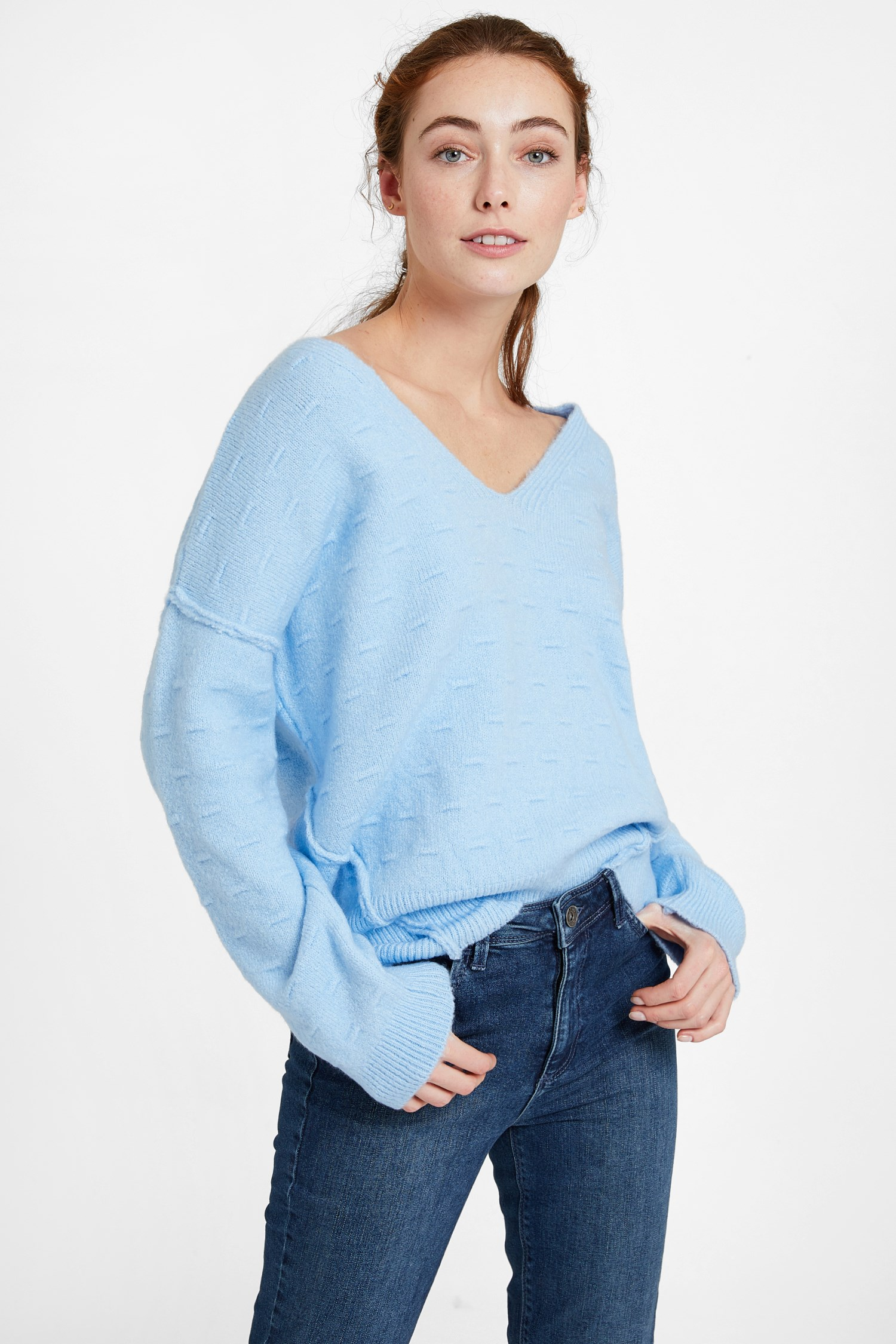 Women Blue Pullover with Texture and Back Detail