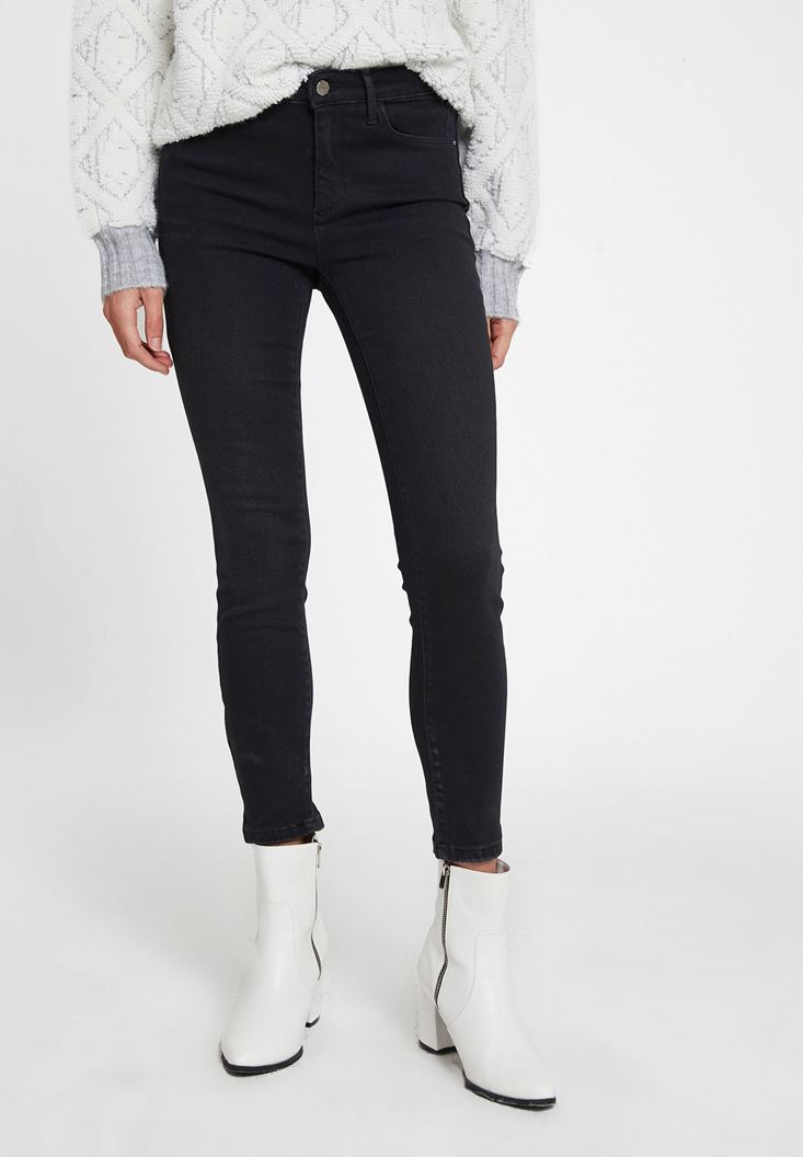 Black Mid Waist Skinny Trousers with Detail