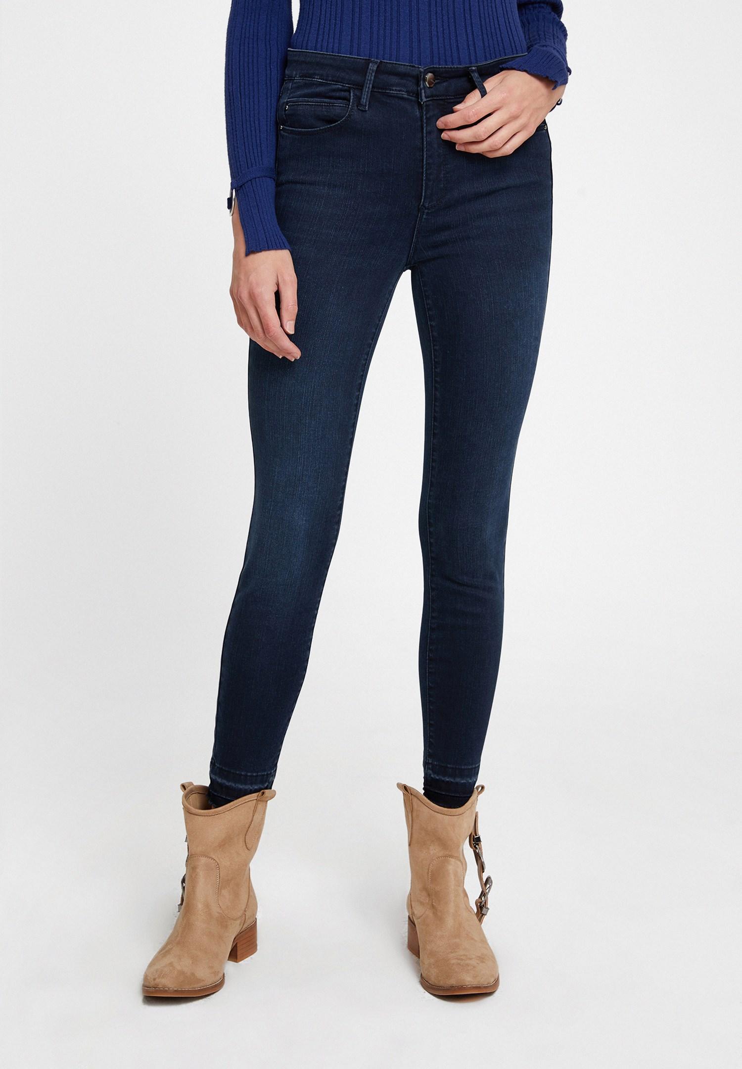 Bayan Lacivert Orta Bel Paça Detaylı Skinny Pantolon