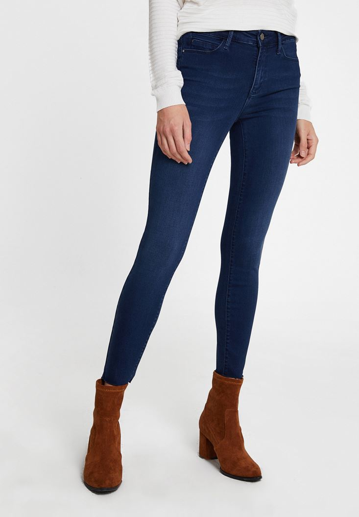 Navy Mid Waist Skinny Trousers with Detail