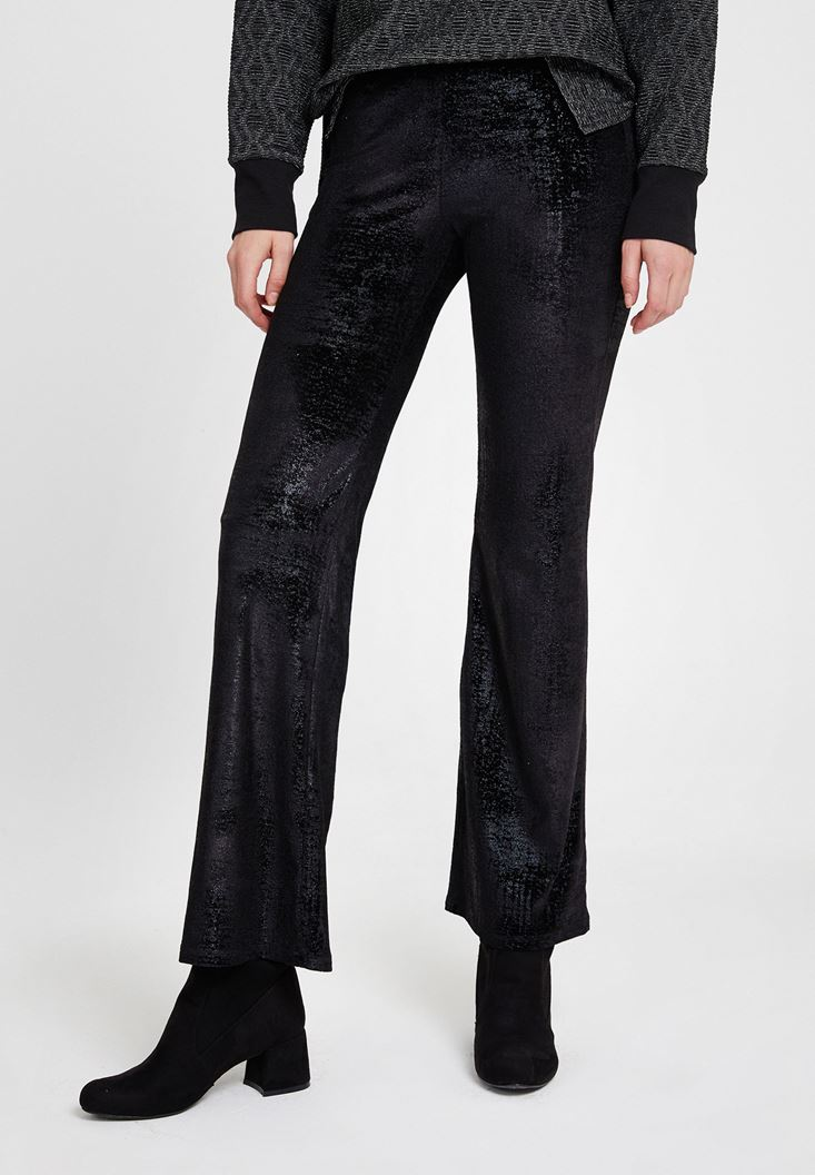 Black Textured Trousers with Detail