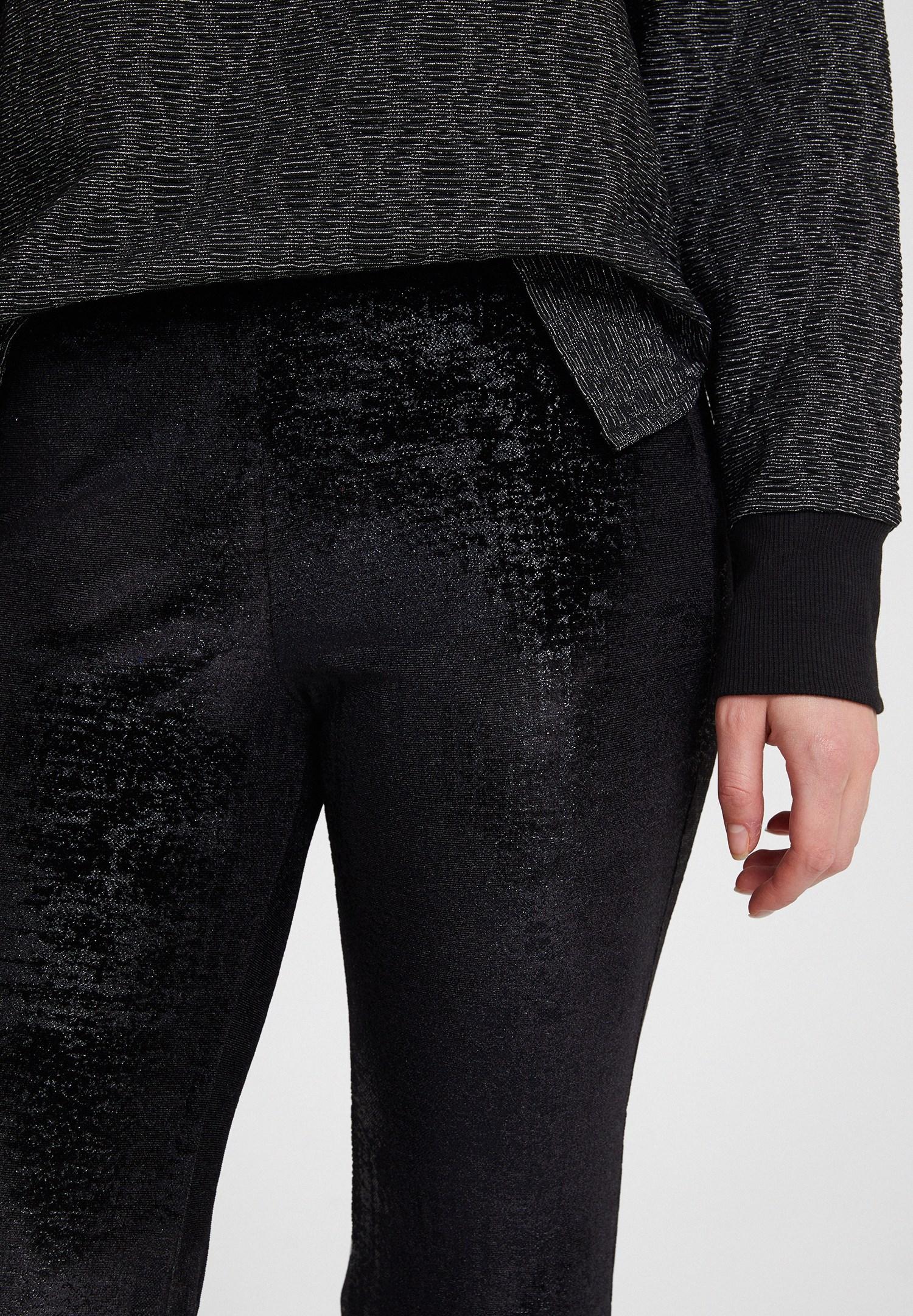 Bayan Siyah Dokulu Pantolon