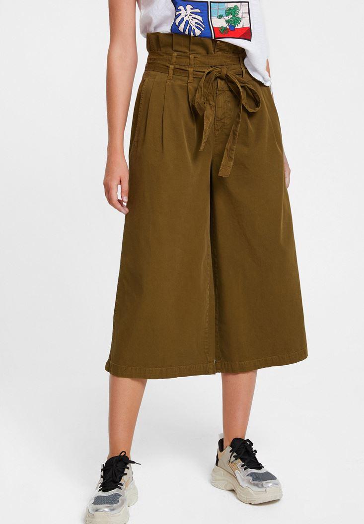 Yeşil Beli Kemerli Bol Pantolon