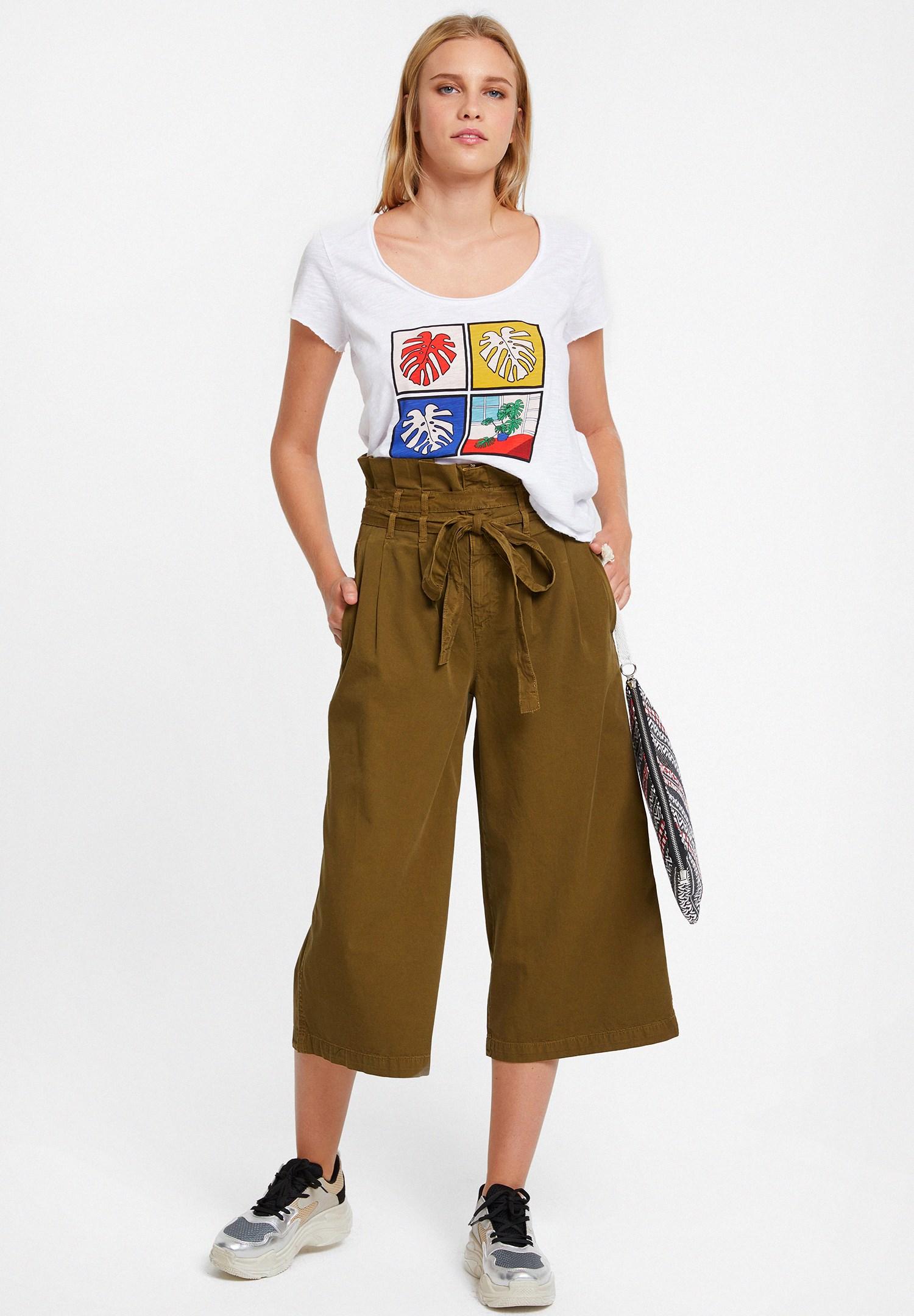 Bayan Yeşil Beli Kemerli Bol Pantolon