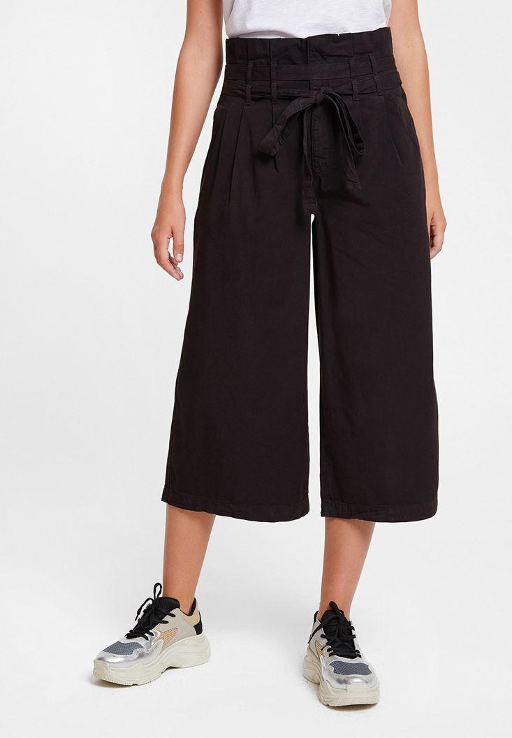 Siyah Beli Kemerli Bol Pantolon
