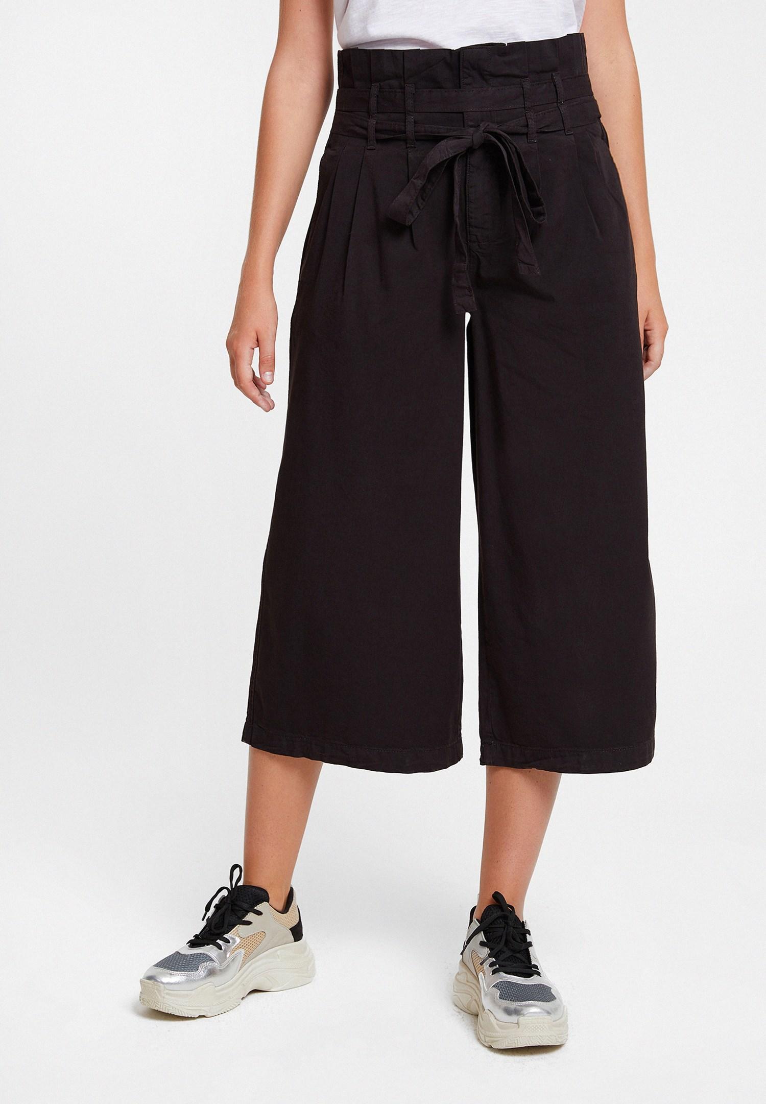 Bayan Siyah Beli Kemerli Bol Pantolon