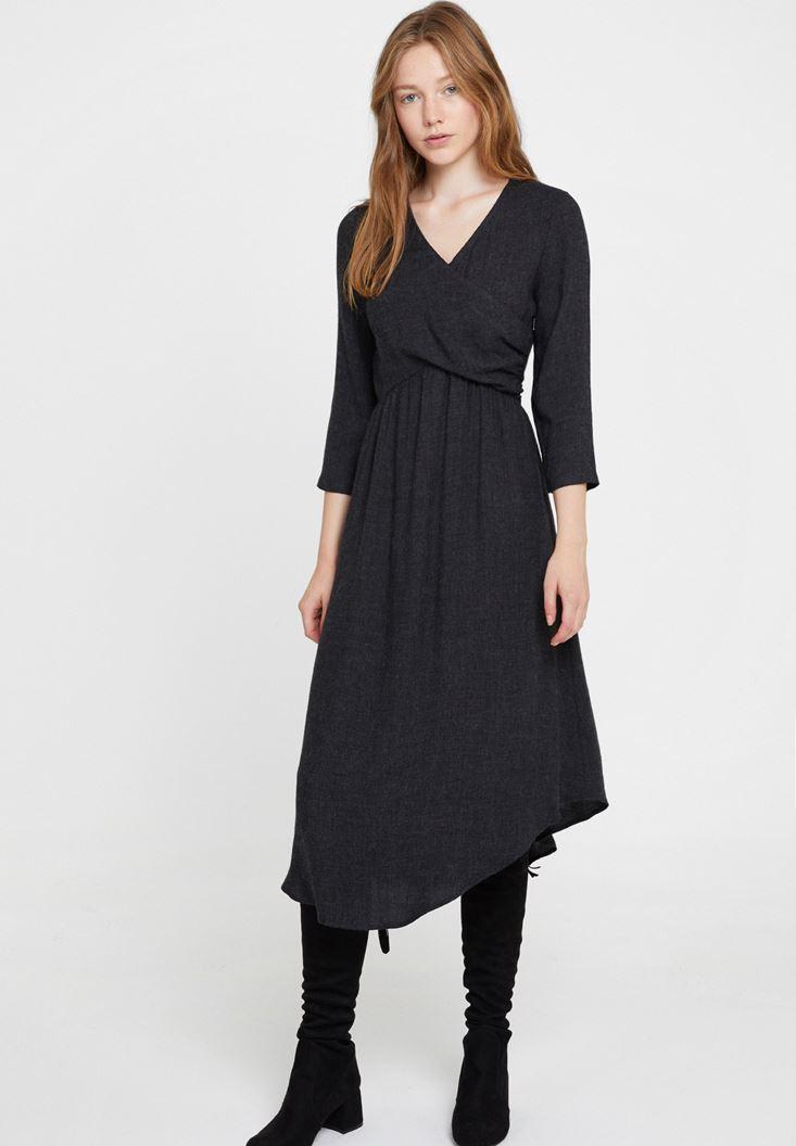 Gri Önü Kruvaze Uzun Elbise