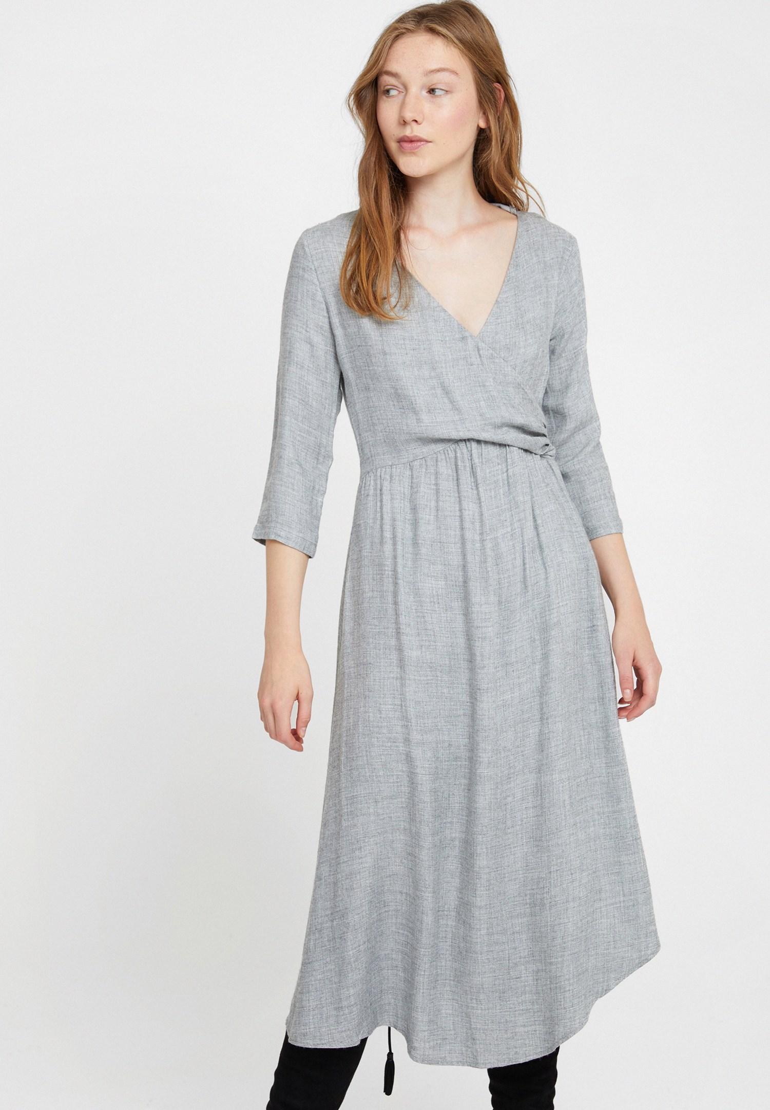 Bayan Gri Önü Kruvaze Uzun Elbise