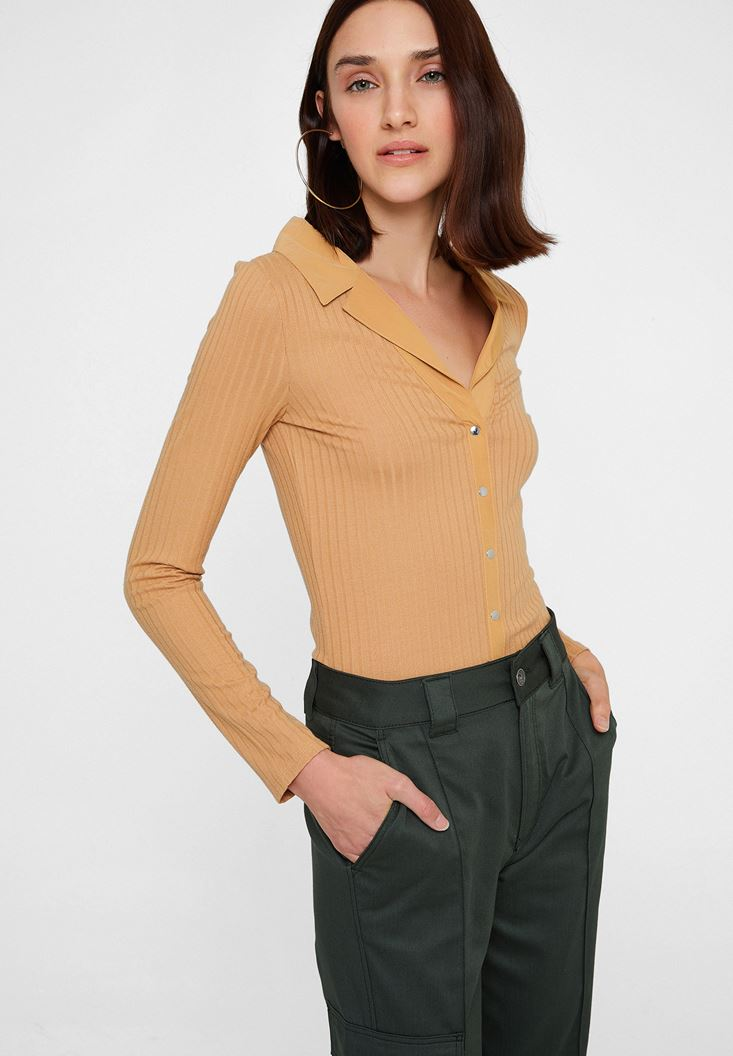 Brown Long Sleeve Blouse with Neck Detail