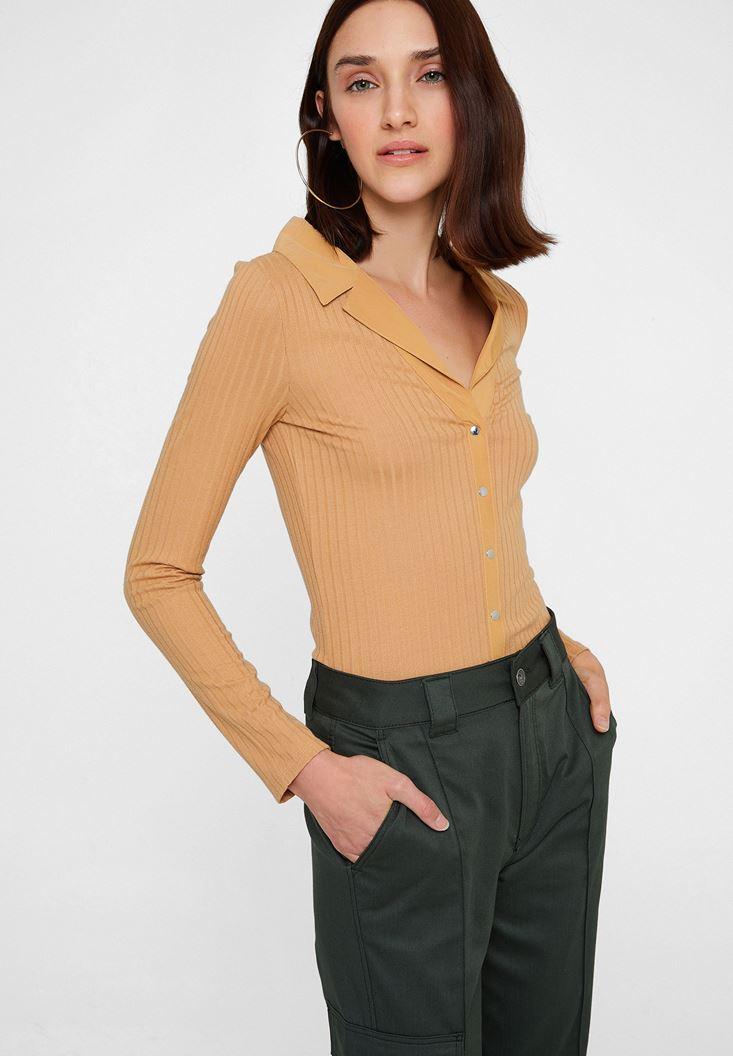 Kahverengi Uzun Kollu Yaka Detaylı Bluz