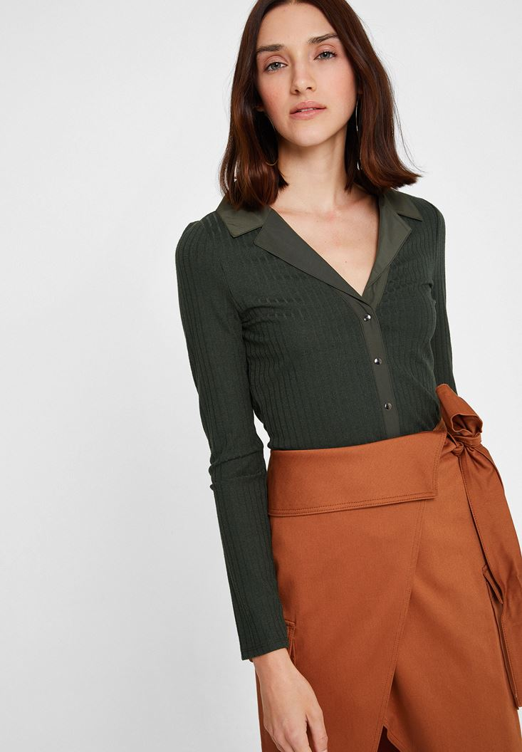 Green Long Sleeve Blouse with Neck Detail
