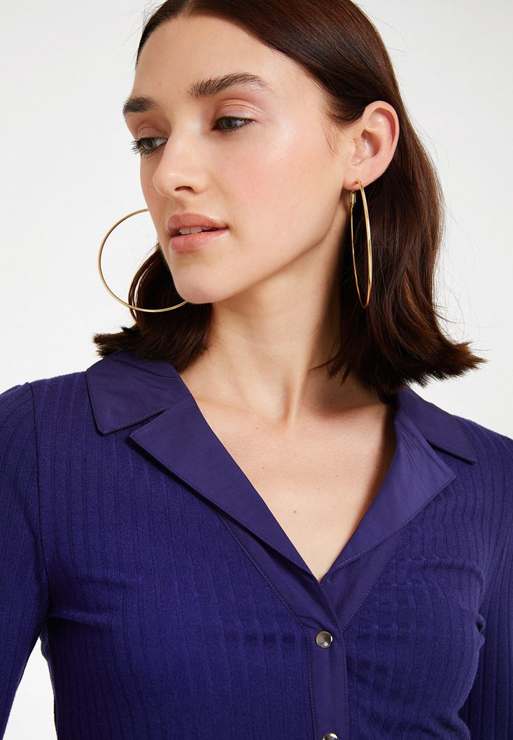 Purple Long Sleeve Blouse with Neck Detail
