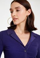 Women Purple Long Sleeve Blouse with Neck Detail