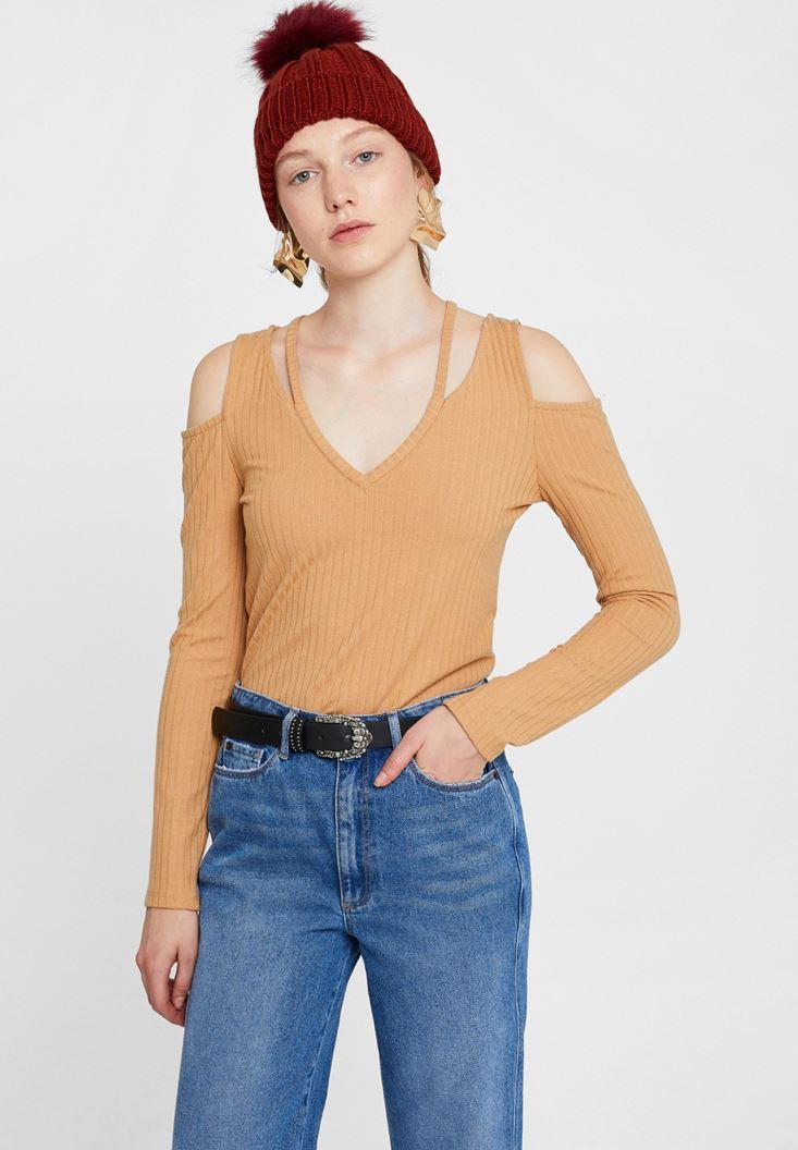 Kahverengi Cut-Out Detaylı Uzun Kollu Bluz