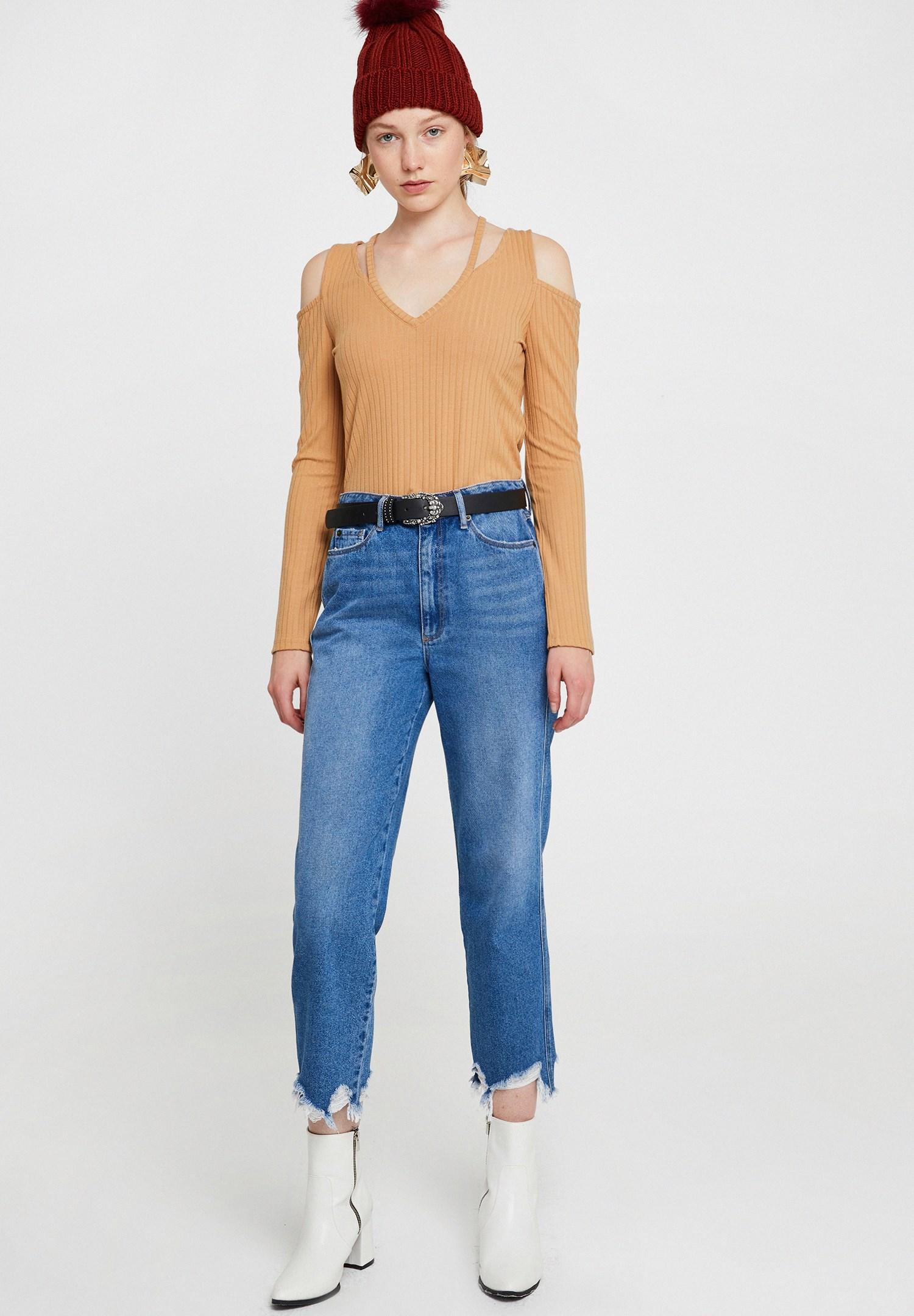Bayan Kahverengi Cut-Out Detaylı Uzun Kollu Bluz