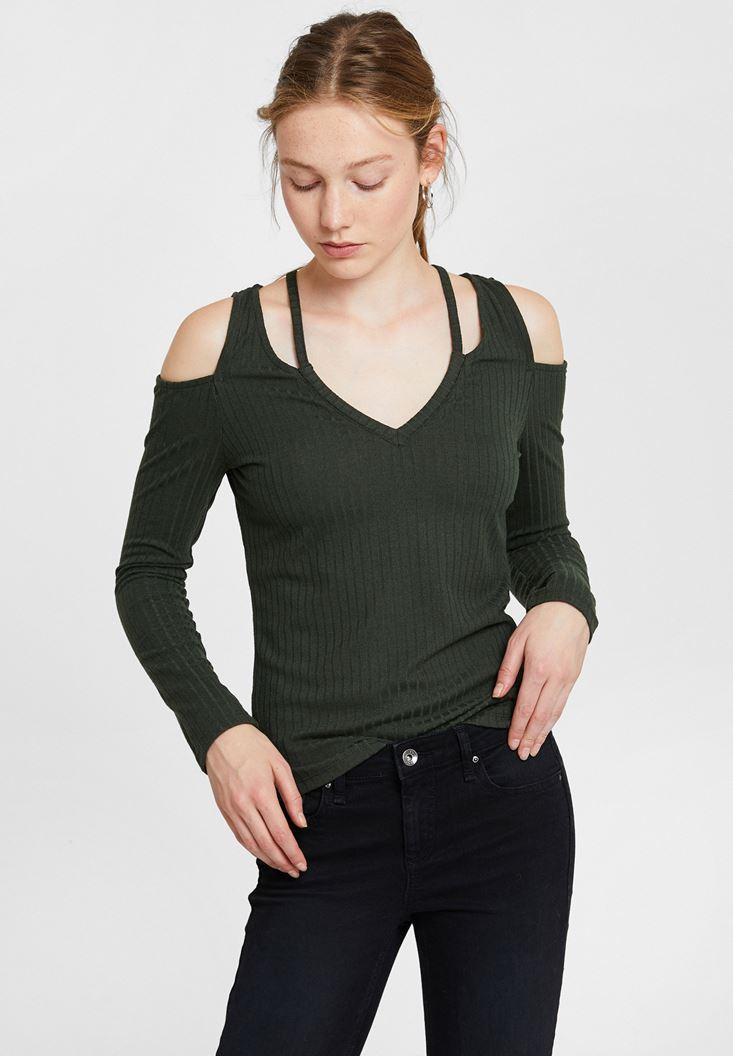 Yeşil Cut-Out Detaylı Uzun Kollu Bluz