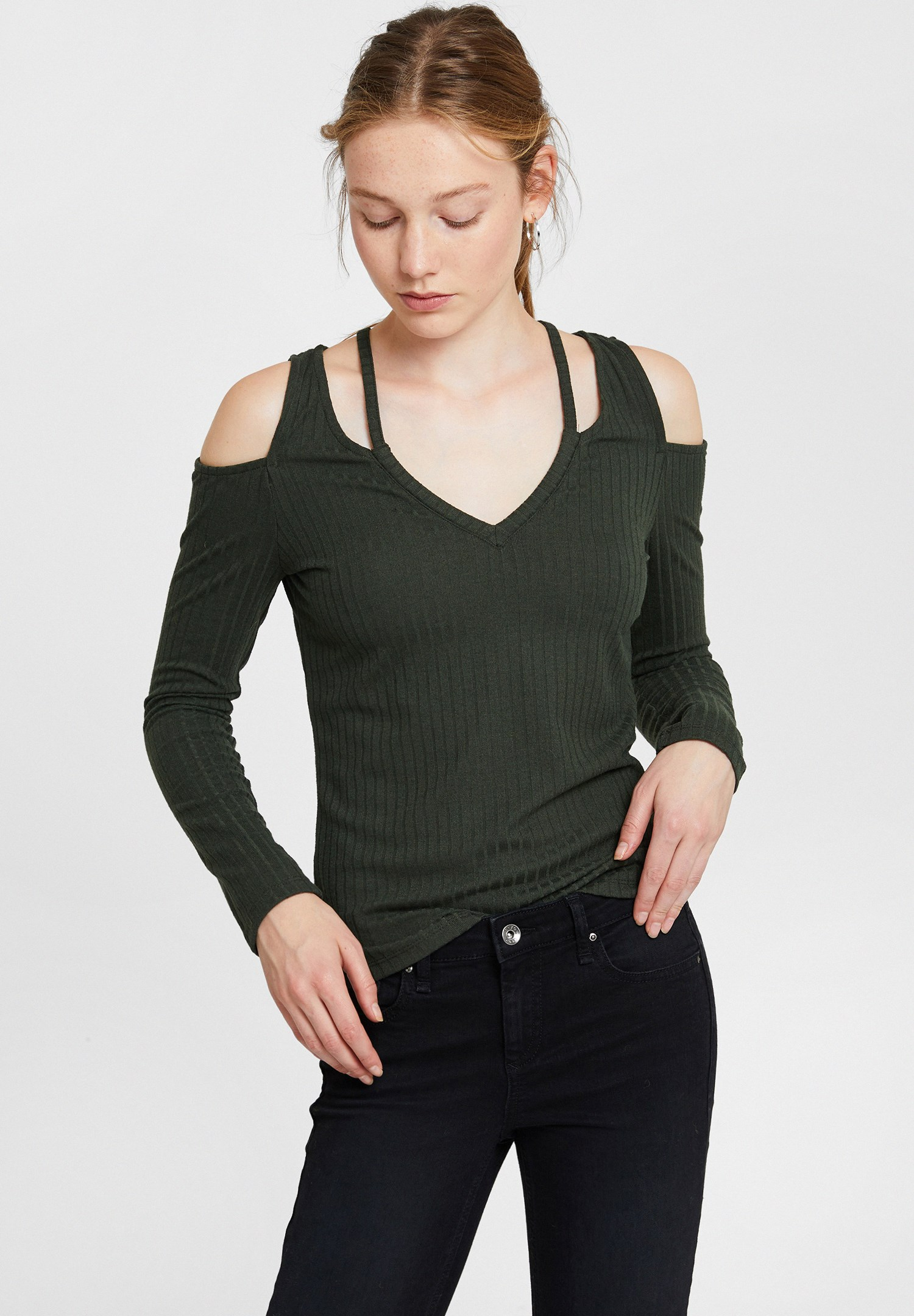 Women Green Long Sleeve Blouse with Cut-Out Detail