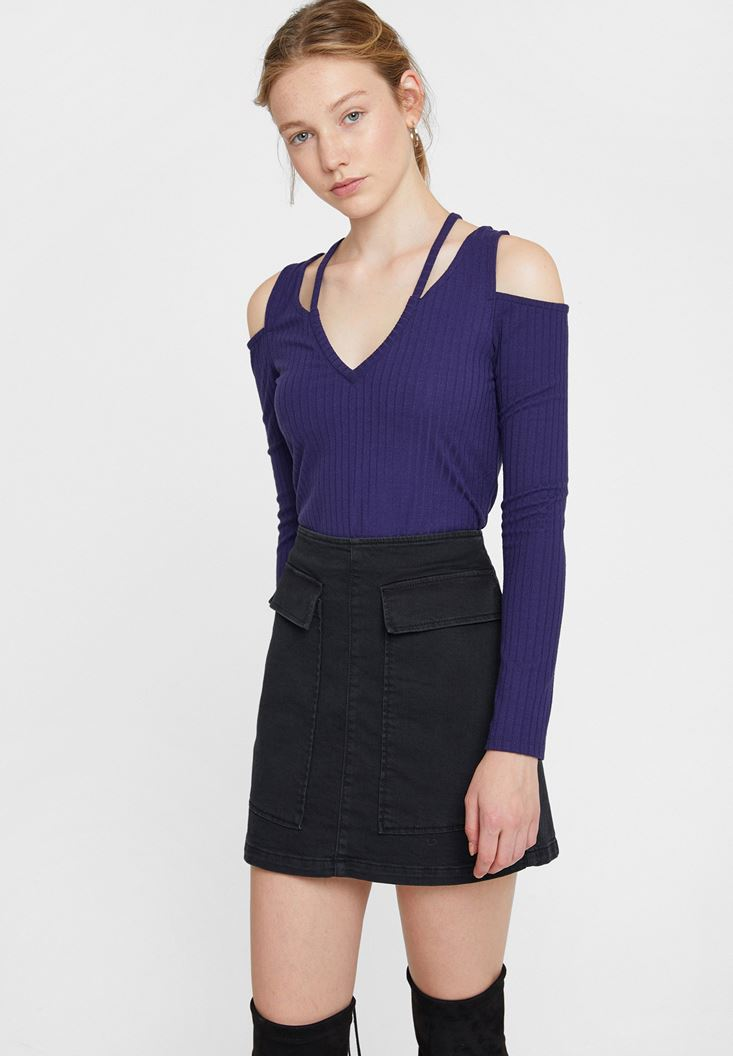 Mor Cut-Out Detaylı Uzun Kollu Bluz