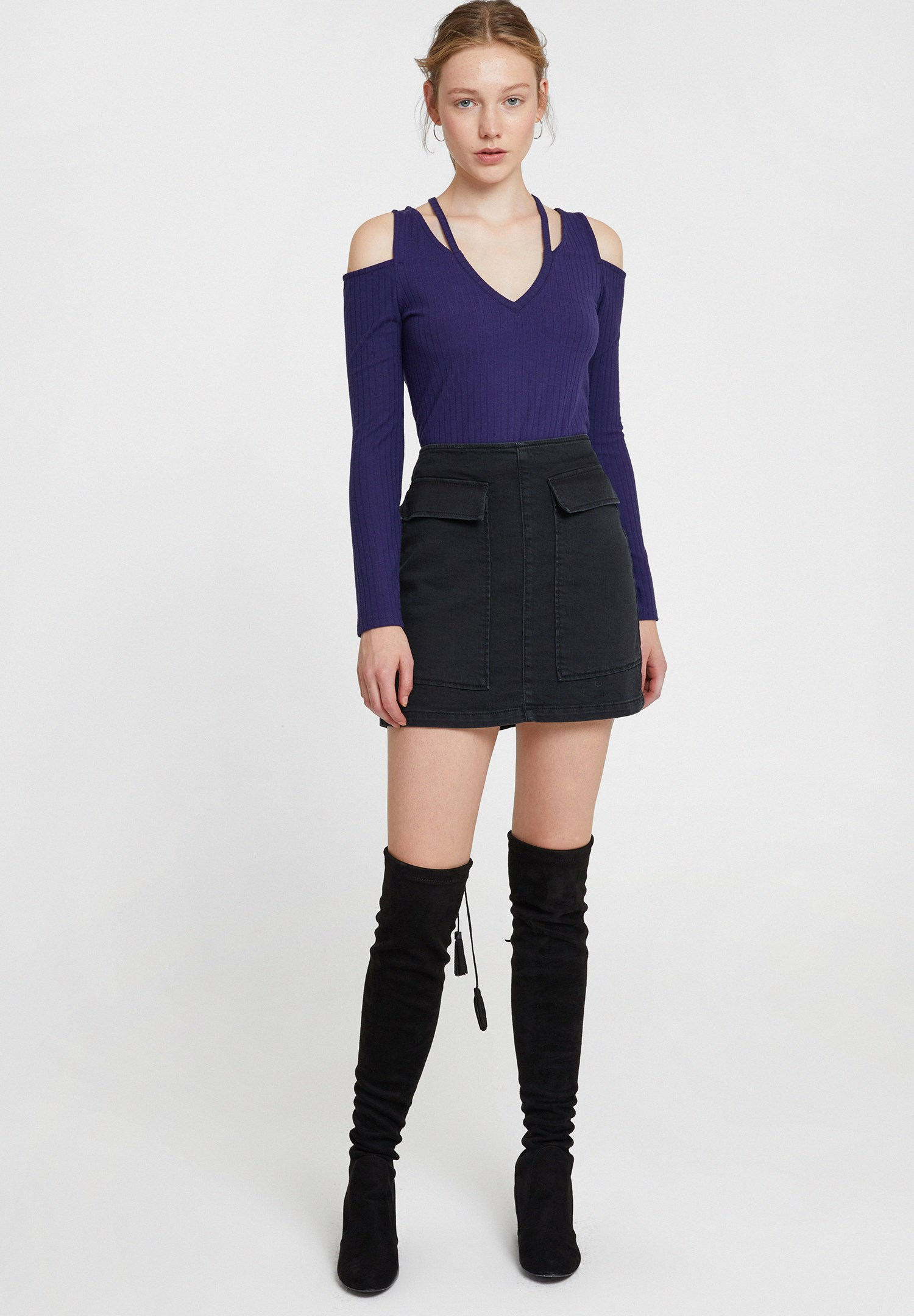 Women Purple Long Sleeve Blouse with Cut-Out Detail