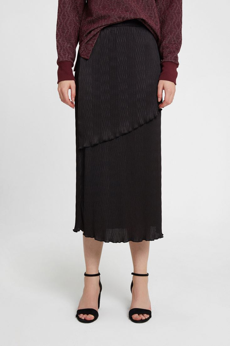 Black Pleated Skirt with Details