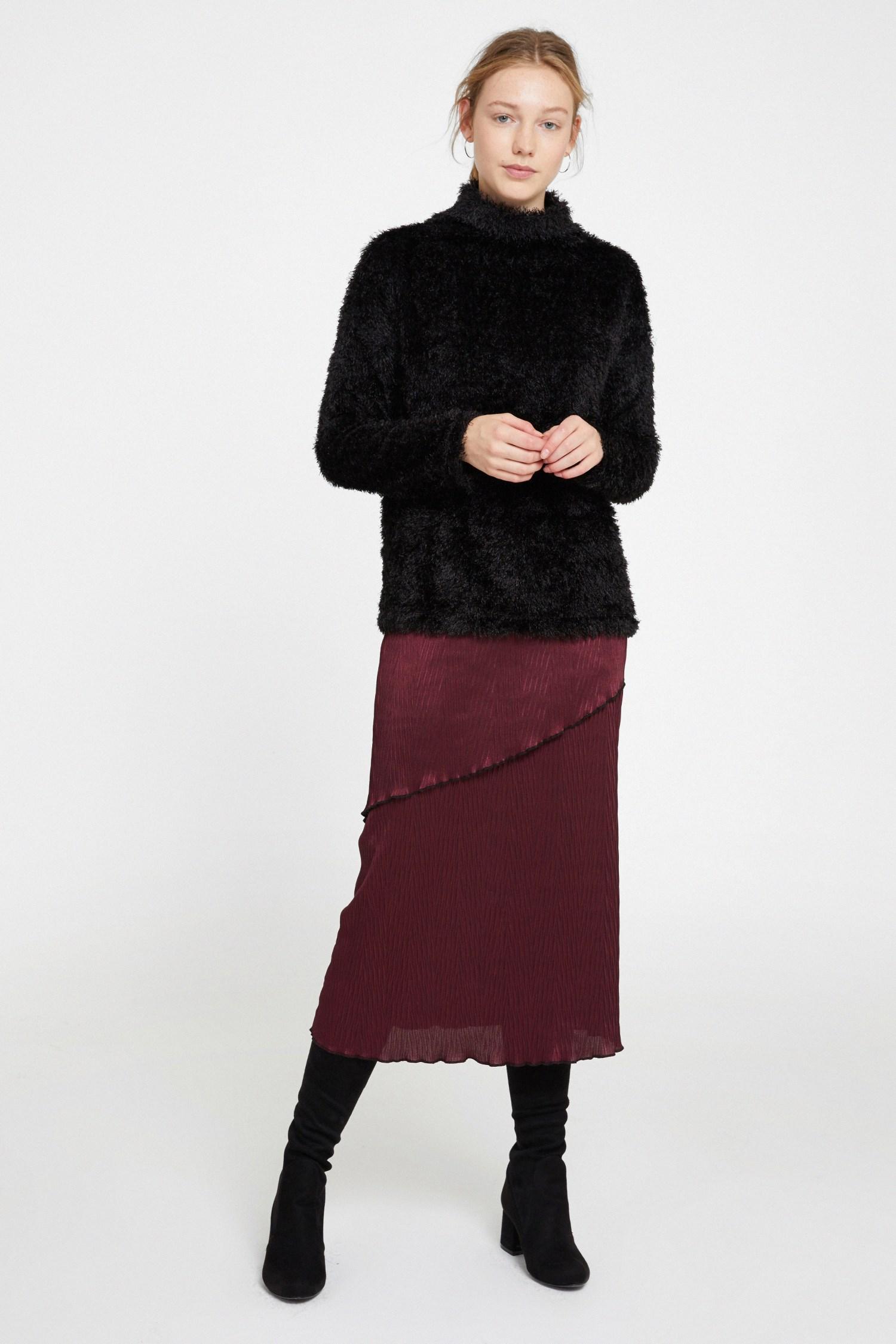 Bayan Bordo Pili Detaylı Uzun Etek