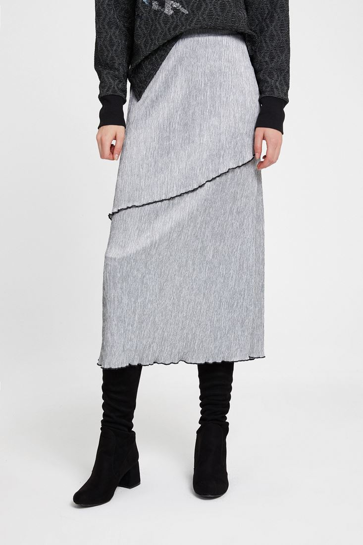 Grey Pleated Skirt with Details