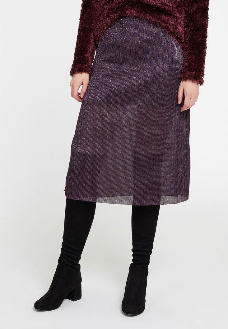 Mixed Midi Skirt with Shiny