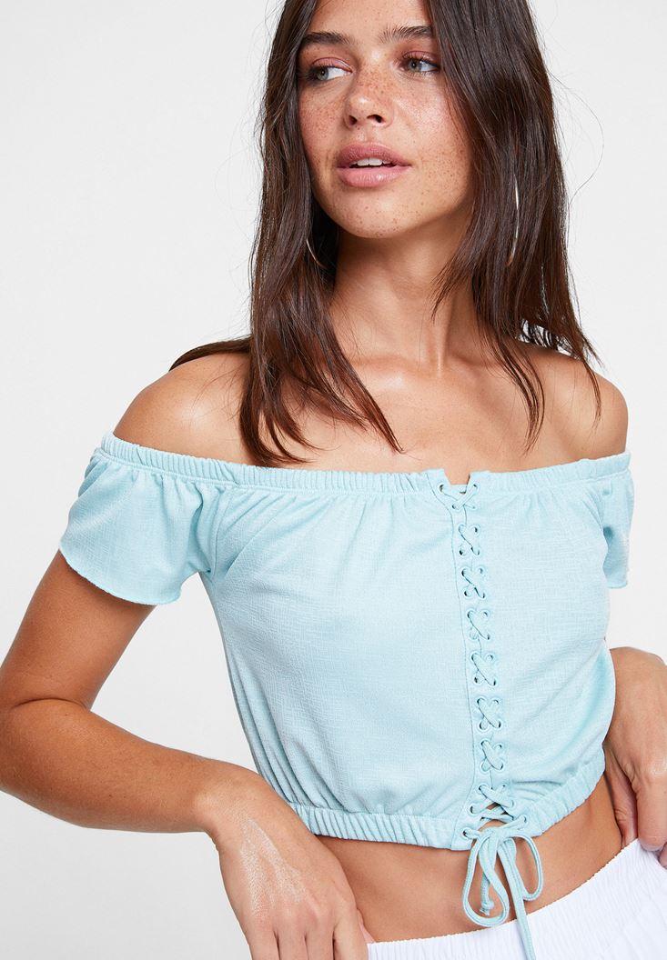 Mavi Düşük Omuzlu Bağlama Detaylı Bluz