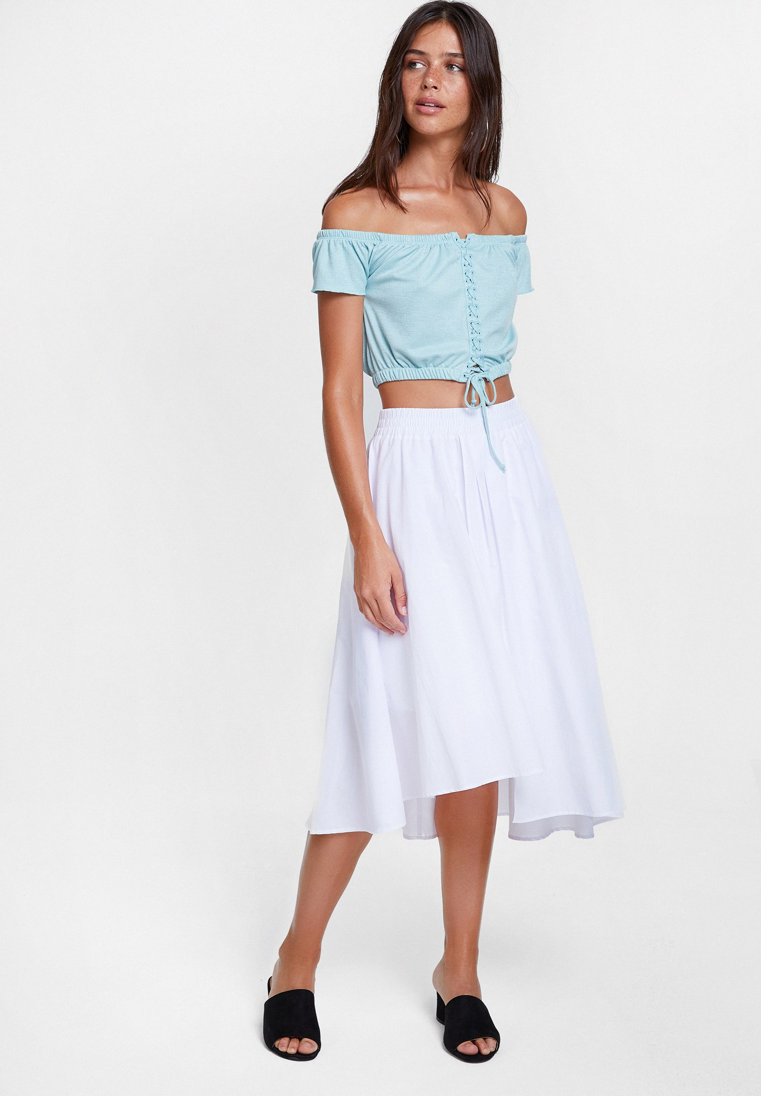Women Blue Off the Shoulder Blouse with Lace Up Detail