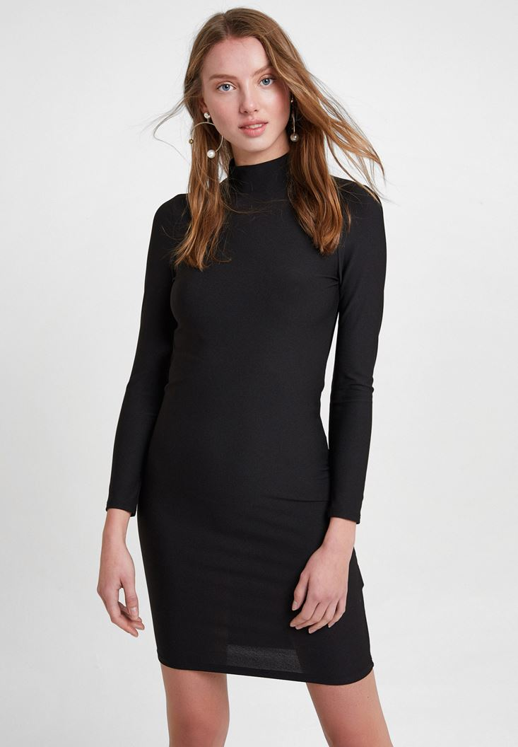 Black Long Sleeve Dress with Back Detail