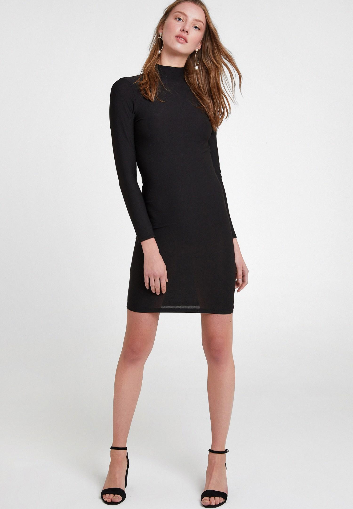 Bayan Siyah Sırt Detaylı Uzun Kollu Elbise