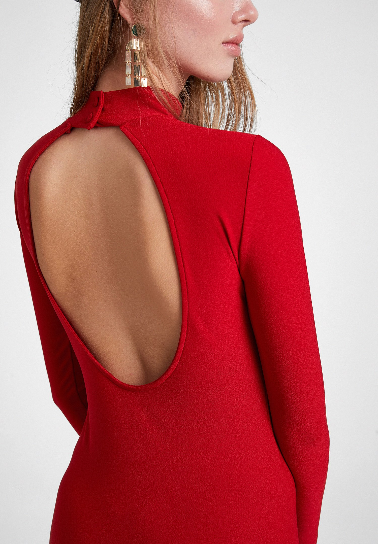 Women Red Long Sleeve Dress with Back Detail