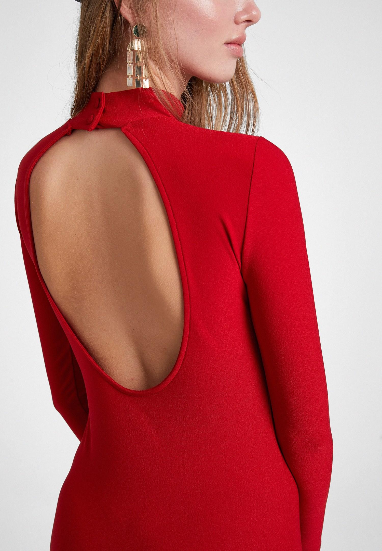 Bayan Kırmızı Sırt Detaylı Uzun Kollu Elbise