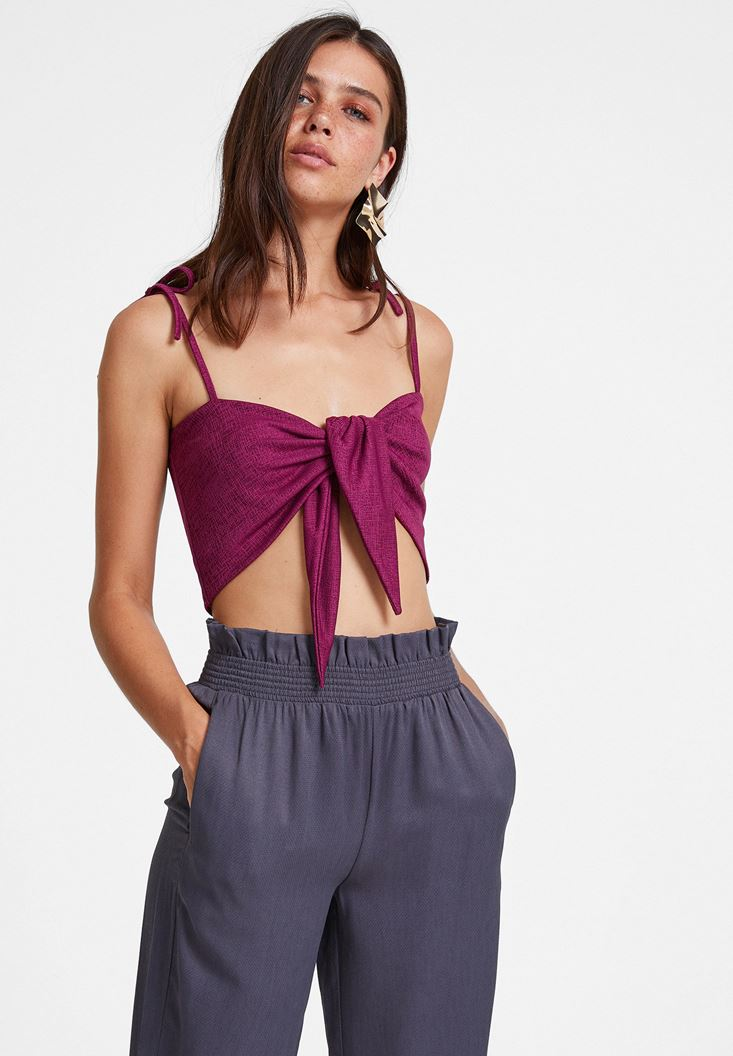 Bordeaux Crop Top with Tied Detail