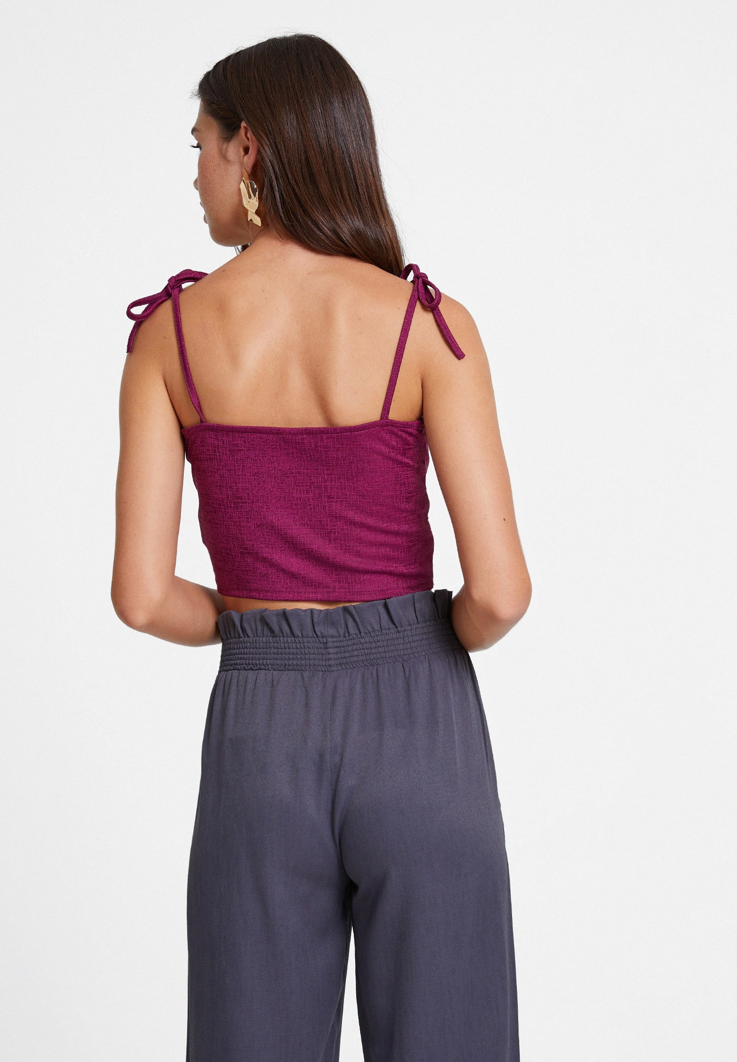 Women Bordeaux Crop Top with Tied Detail