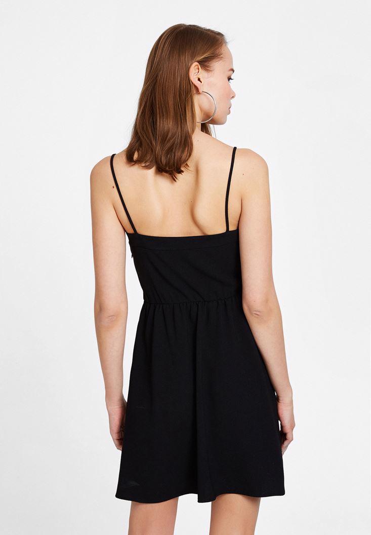 Bayan Siyah İnce Askılı Bağlama Detaylı Elbise
