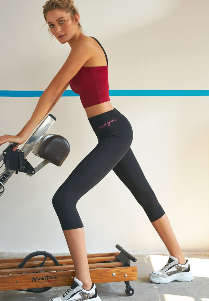 Black Shiny Sport Legging