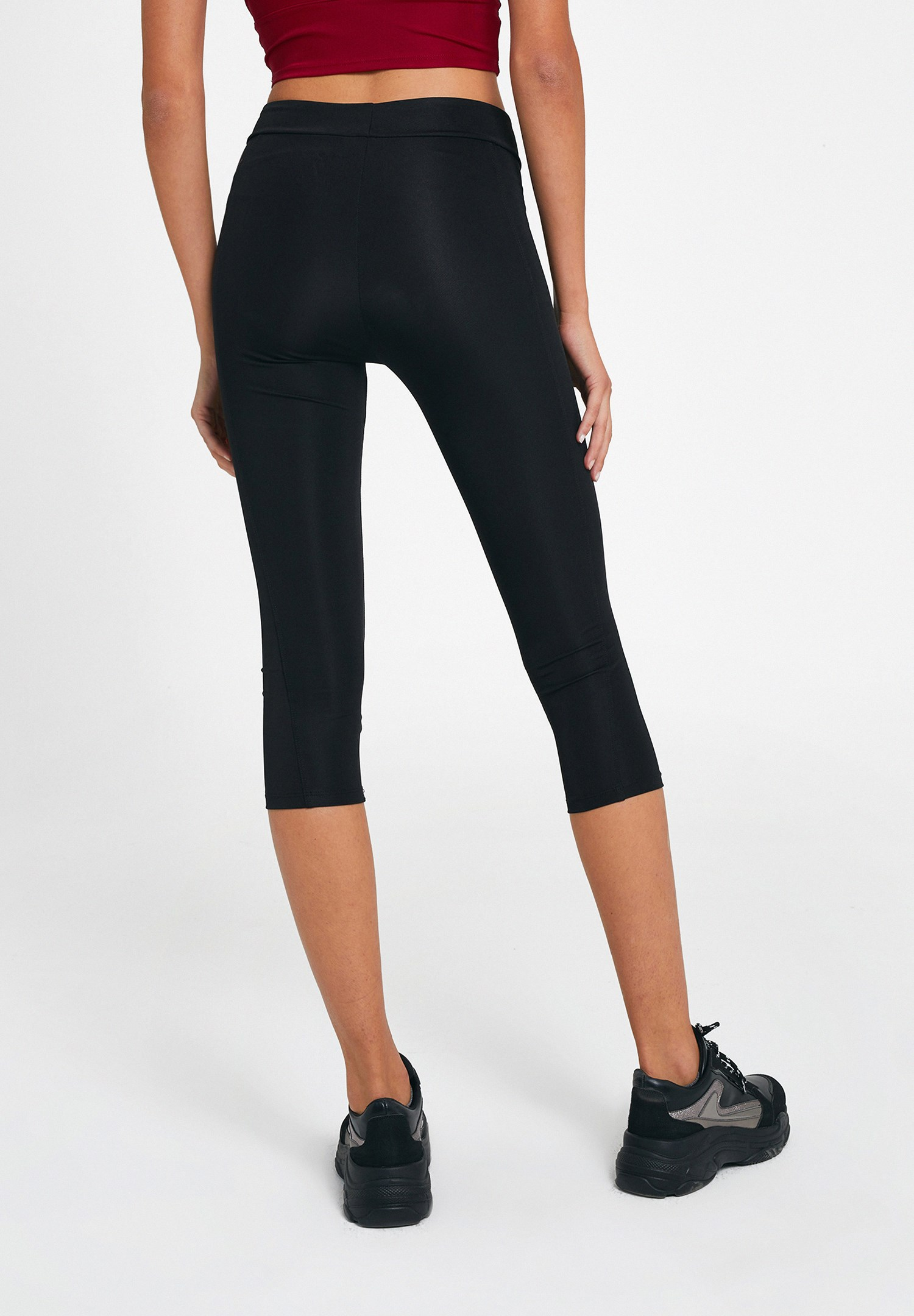 Women Black Shiny Sport Legging