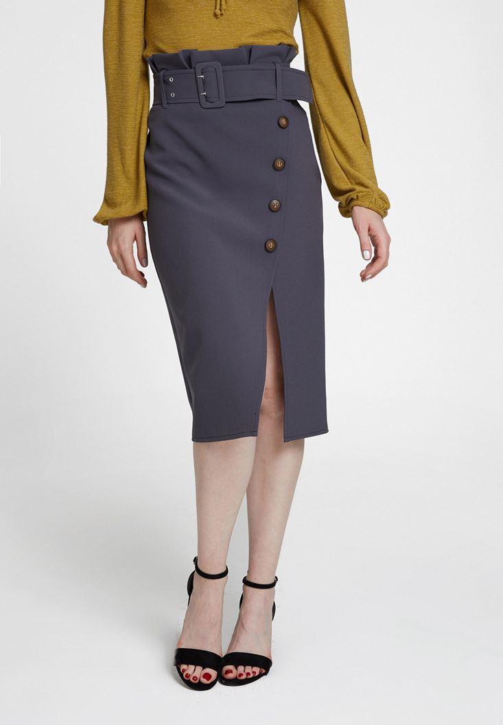 Grey High Waist Skirt with Buttons