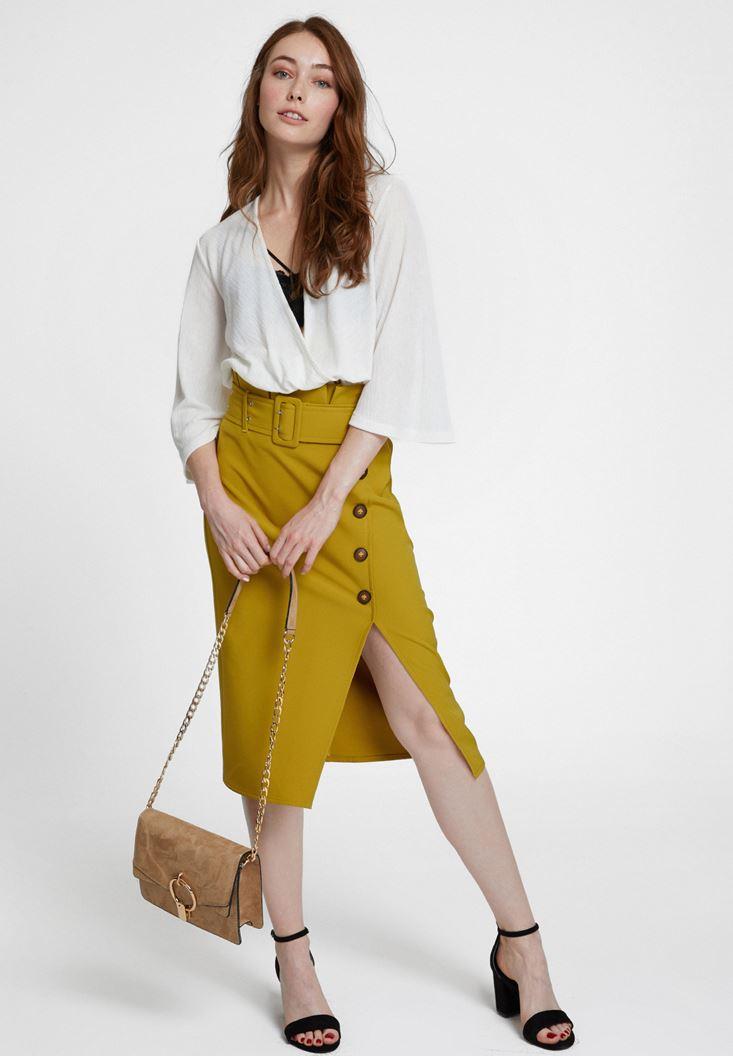 Green High Waist Skirt with Buttons